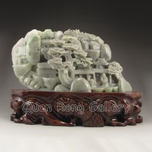 Superb Hand-carved Chinese Natural Hetian Jade Statue - Poet & Pine Tree
