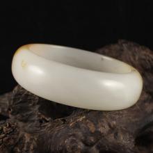 Inside Diameter 58 mm Chinese Natural White Hetian Jade Bracelet