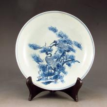 Hand-painted Chinese Blue And White Porcelain Plate W Pine Tree & Crane
