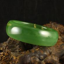 Chinese Natural Green Hetian Jade Bracelet Carved Lotus