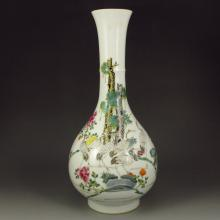 Hand-painted Chinese Famille Rose Porcelain Vase w Crane Pine Tree & Marked