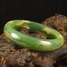Inside Diameter 57 mm Hand-carved Chinese Natural Hetian Jade Bracelet