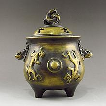 Chinese Bronze 3 Legs Incense Burner Carved Chi Dragon w Lid