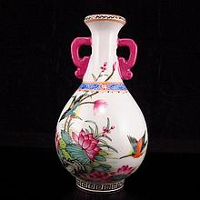 Hand-painted Chinese Famille Rose Double-ring Porcelain Vase