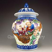 Hand-painted Chinese Famille Rose Porcelain Pot w Mark & Lid