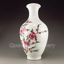 Hand-painted Chinese Famille Rose Porcelain Vase Plum Blossom & Yong Zheng Mark