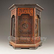 Vintage Hollow Out Carved Chinese Hua Li Wood 6 Sides Brush Pot