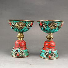 A Pair Chinese Brass Inlay Turquoise Candlesticks