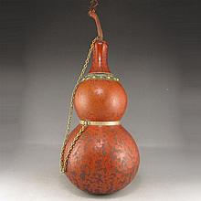 Big Chinese Natural Double Gourd Inlay Copper Snuff Bottle