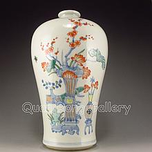 Hand-painted Chinese Five Colors Porcelain Vase w Plum Flowers & Lotus