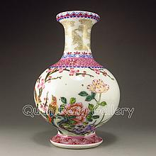 Hand painted Chinese Gold-plated Famille Rose Porcelain Vase w Yong Zheng Mark