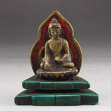 Chinese Brass Inlay Turquoise Buddha Statue