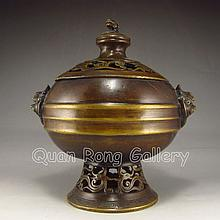 Chinese Brass Incense Burner w Lid Carved Pi Xiu Dragon & Kangxi Mark