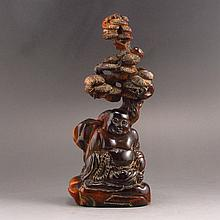 Hand Carved Chinese Ox Horn Statue w Laughing Buddha & Pine Tree