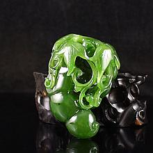 Hand Carved Chinese Natural Green Hetian Jade Pendant - Fortune Green Bean