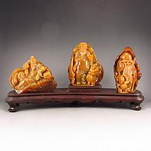 A Set Hand Carved Chinese Shoushan Stone Statue Three Lucky Taoism Deity - Fukurokuju