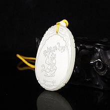 Hand Carved Chinese Natural White Hetian Jade Pendant w Fortune Kid & Fortune Bat
