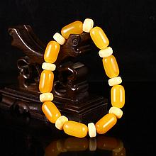 Beautiful Color Hand Carved Chinese Natural Indonesia Jin Tian Huang Bracelet