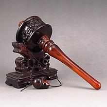 Hand Carved Chinese Ox Horn Prayer Wheel w Luckly Design