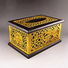 Superb Hollow-out Carved Chinese Natural Hard Wood Paper Extraction Box w Flower Fortune Kid & Peach