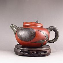 Handmade Chinese Yixing Zisha Clay Teapot w Artist Signed Bamboo & Panda