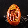Beautiful Color Hand Carved Chinese Jade Pendant w Cranes & Pine Tree