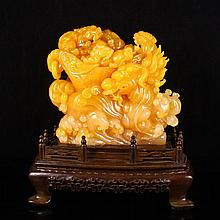 Superb Beautiful Color Hand Carved Natural Indonesia Jin Tian Huang Statue w Dragon & Dragon Son