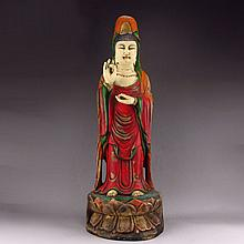 Hand Carved Chinese Natural Hard Wood Lacquerware Lotus Flower Kwan-yin Statue