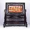 Chinese Red Wood Inlay Sanders Wood Screen Carved Four Beautiful Girl - Playing Piano , Playing Chess, Look Book ,Drawing