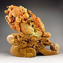 Superb Hand Carved Chinese Natural Shoushan Stone Statue - Fortune Pi Xiu Dragon