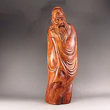 Hand-carved Chinese Natural Hua Li Wood Hard Wood Statue - Long Life Old Man