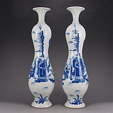 A Pair Hand-painted Chinese Qing Dynasty Blue And White Porcelain Bottle w Kang Xi Mark