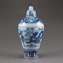 Hand-painted Chinese Blue And White Porcelain Snuff Bottle