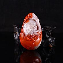 Hand Carved Chinese Natural Agate Pendant - Elephant