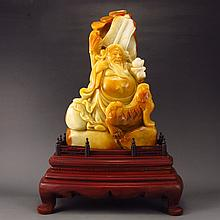 Superb Hand-carved Chinese Natural Shoushan Stone Statue - Han Zhongli