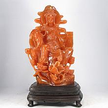 Superb Hand-carved Chinese Shoushan Stone Statue - Lotus Kwan-yin