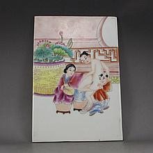 Hand-painted Chinese Famille Rose Porcelain Plaque Painting
