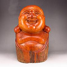 Hand-carved Chinese Natural Huali Wood Hard Wood Statue - Laughing Buddha