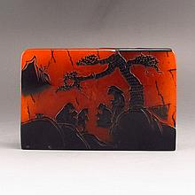 Hand-carved Chinese Natural Shoushan Stone Seal Sages & Pine Tree