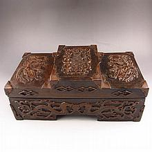 Superb Hand Carved Chinese Natural Black Sandalwood Inlay Boxwood Box w Phoenix