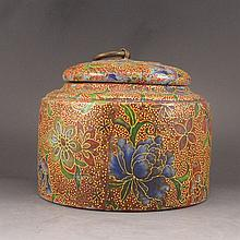 Hand-painted Chinese Colour Enamels Zisha / Purple Clay Tea Caddie w Artist Signed