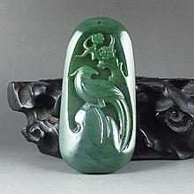 Hand-carved Chinese Natural Hetian Jade Pendant - Magpie & Plum Flower