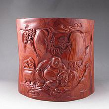 Hand-carved Chinese Natural Huang Hua Li Hard Wood Brush Pot w Laughing Buddha