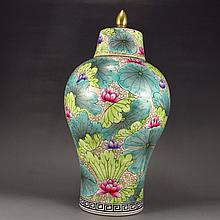 Hand-painted Chinese Colour Enamels Porcelain Lotus Flower Jar w Mark