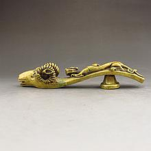 Chinese Brass Sheep Head Belt Hook Buckle w Chi Dragon