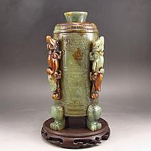 19TH C Hand Carved Chinese Natural Hetian Jade Low Relief Chi Dragon Pot
