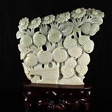 Hand Carved Chinese Natural Hetian Jade Statue - Peach Peanut & Flower