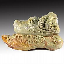 Huge Superb Hand Carved Chinese Natural Shoushan Stone Statue - Ship