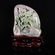 Hand Carved Chinese Natural Hetian Jade Statue w Sage & Pine Tree