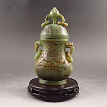 Hand Carved Chinese Qing Dynasty Natural Hetian Jade Low Relief Double-deck Bottle w Lucky Design
